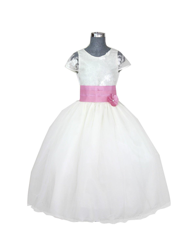 ab3bd4285 Vestido de niña Modelo Rosy Fajo de color - Creaciones Maylin